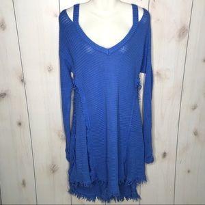Hayden Blue Fringed Cold Shoulder Sweater Dress